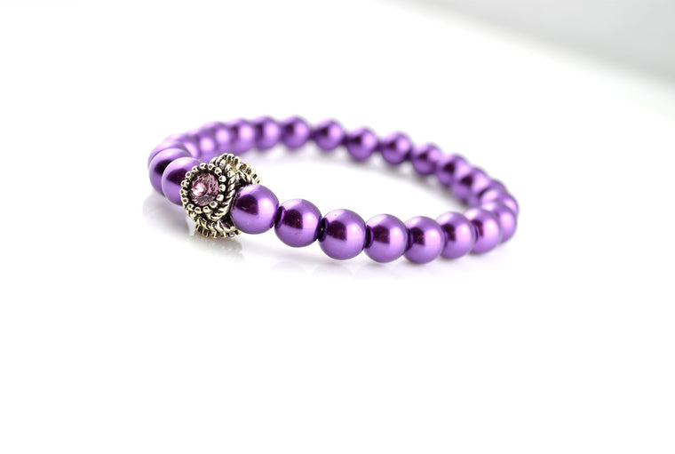 Purple Pearl Stretchy Bracelet