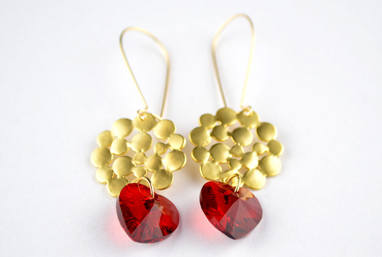 Swarovski Heart Gemstone Earrings