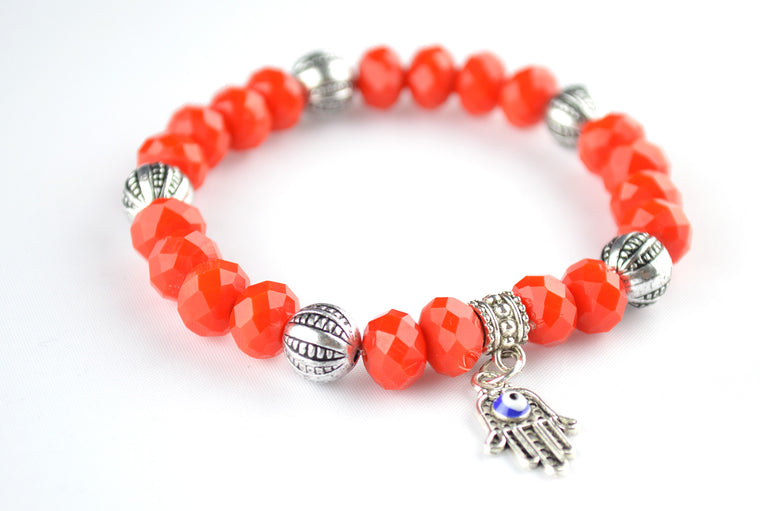 Red Bead Bracelet with Antique Silver Beads with Hamsa Charm