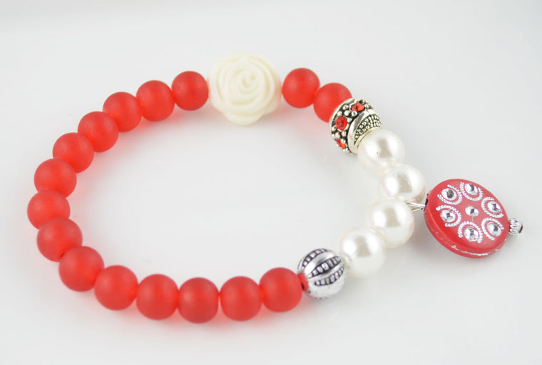 Matte Red and White Pearl Bead Antique Silver Charm Bracelet
