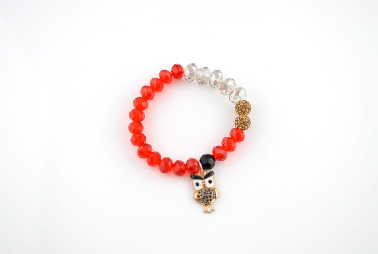 Red and Golden Owl Charm Stretchy Bracelet