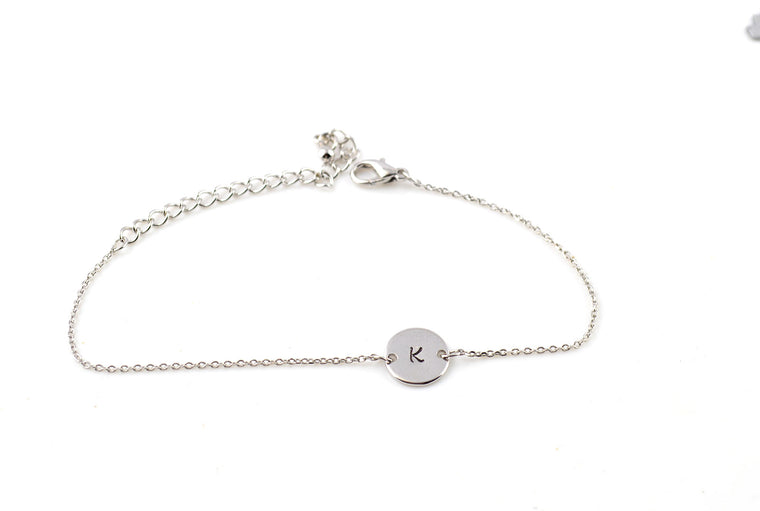 Dainty Name Initial Silver Plated Bracelet