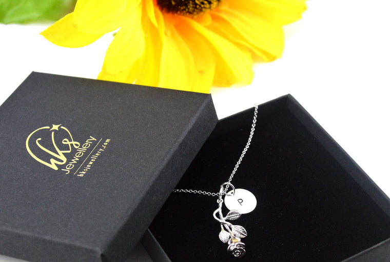 Flower Pendant Rhodium Plated Necklace