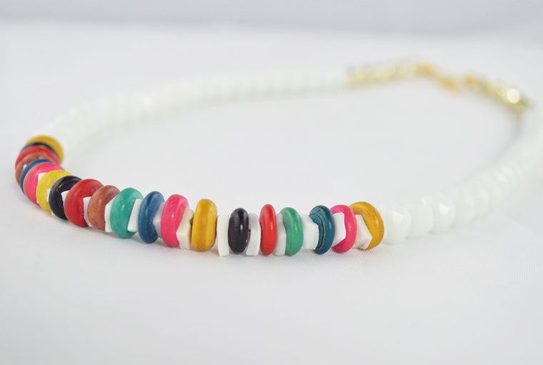 White Glass & Multicolored Wooden Beads Necklace