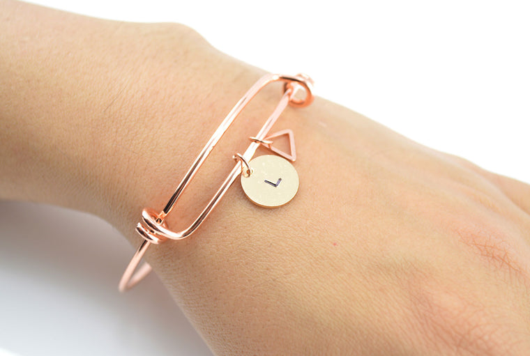 Personalised Triangle Charm Rose Gold Bangle