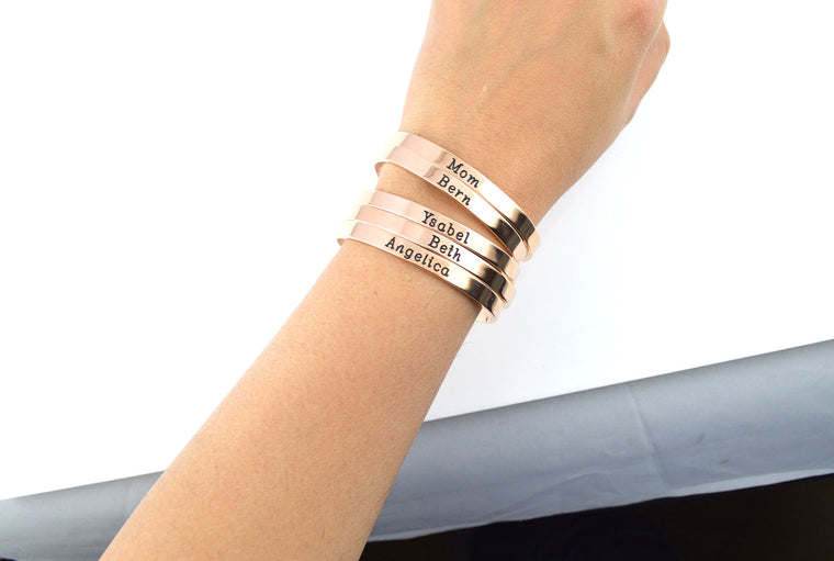 Rose Gold Bracelet, Personalized Bracelet, Bridesmaid Gifts