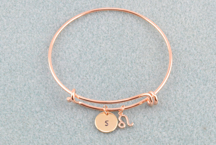 Personalised Zodiac Charm Bracelet Bangle