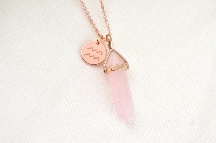 Rose Quartz Zodiac Necklace
