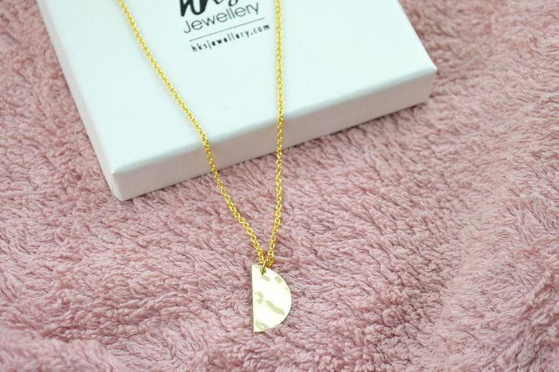 Semi Circle Gold Hammered Necklace