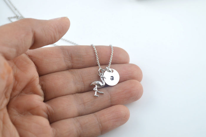Silver Flamingo Name Initial Necklace