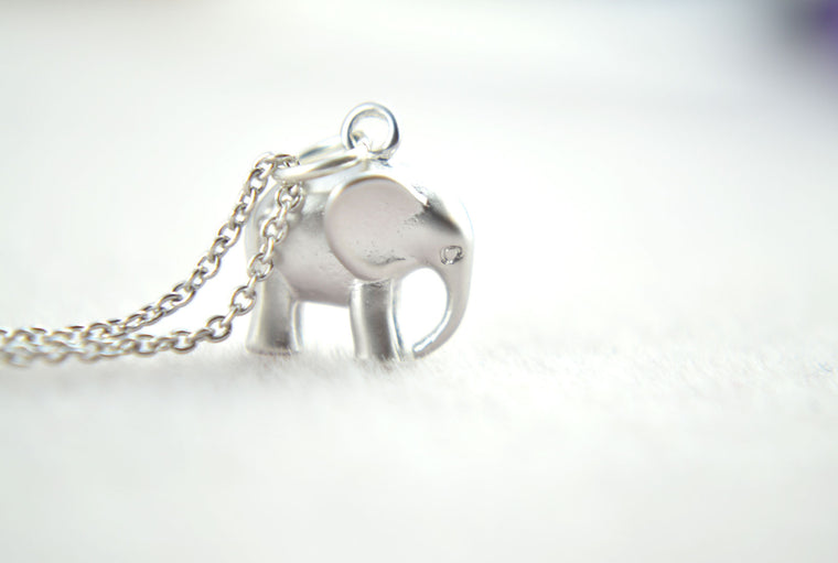 Silver Elephant Personalised Name Initial Necklace