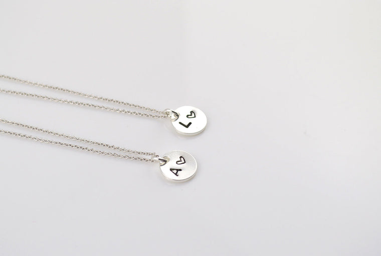 Silver Disc Necklace, Initials Necklace
