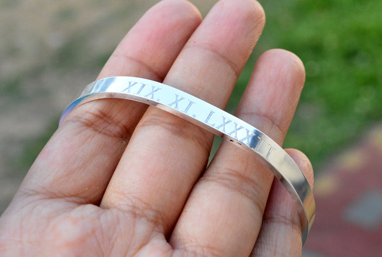Engraved Silver Plated Roman Numerals Cuff Bracelet