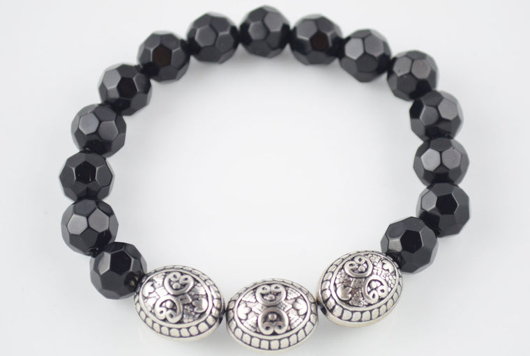 Antique Silver and Black Glass Bead Stretchy Bracelet
