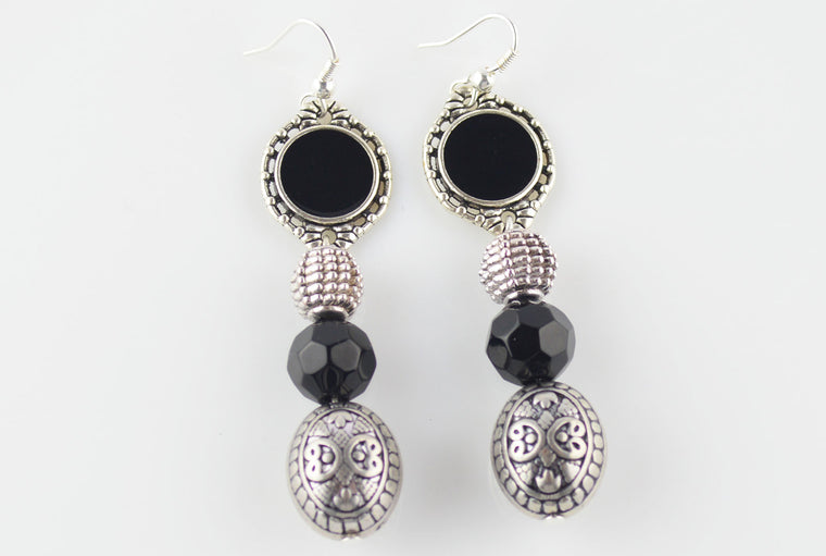 Antique Silver Black Enamel Beaded Earrings