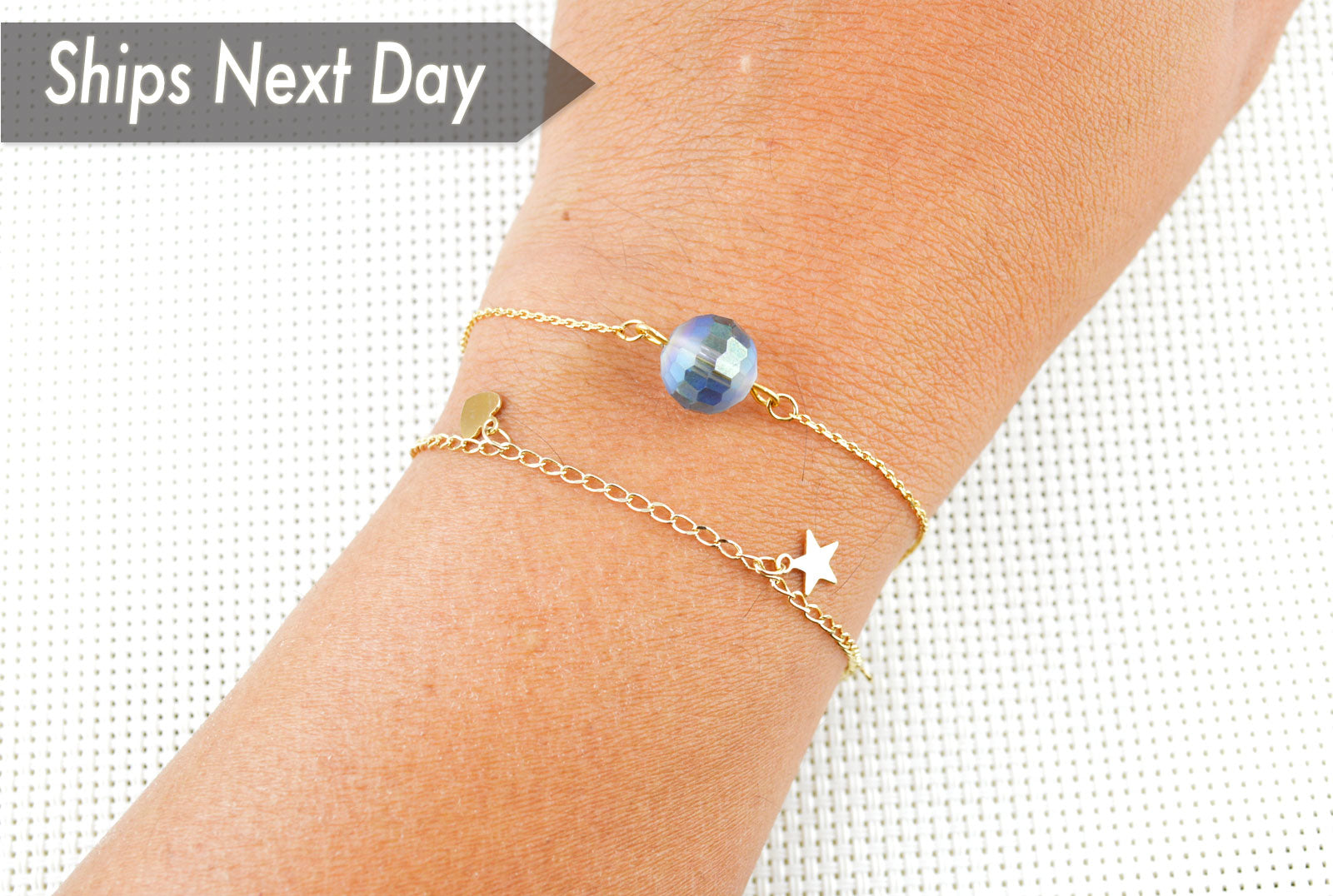 Star and Heart Gold Plated Dainty Bracelet