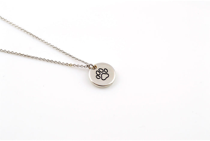 Silver Pet Necklace, Paw Print Necklace