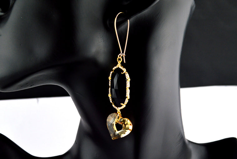 Gold plated Swarovski Heart Dangler Earrings