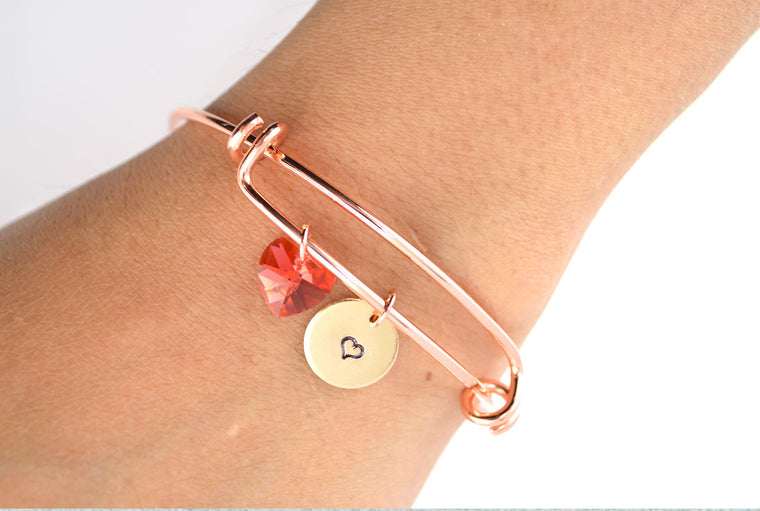 Swarovski Heart Pendant Rose Gold Bangle