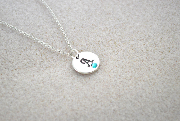 Silver Name Initial Swarovski Personalised Necklace