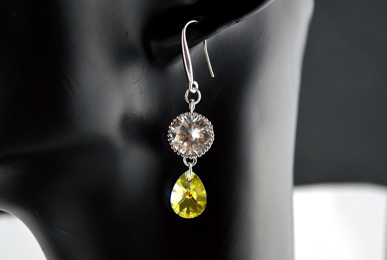 Swarovski Teardrop Earrings with Rhodium plated Zirconia 925 Sterling Silver