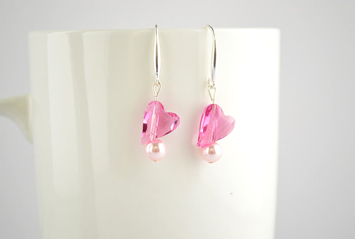 925 Sterling Silver Pink Heart Swarovski Dangler Earrings