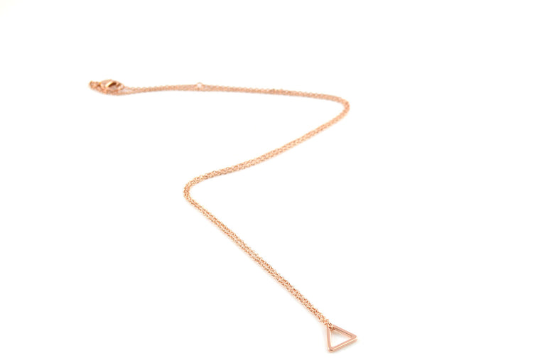 Rose Gold Triangle Minimalist Necklace