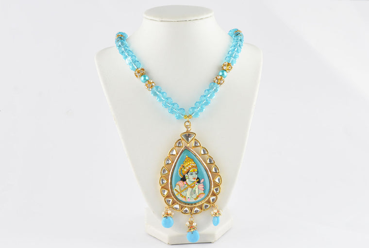Turquoise Golden Indian Necklace With Krishna Meenakari Pendant