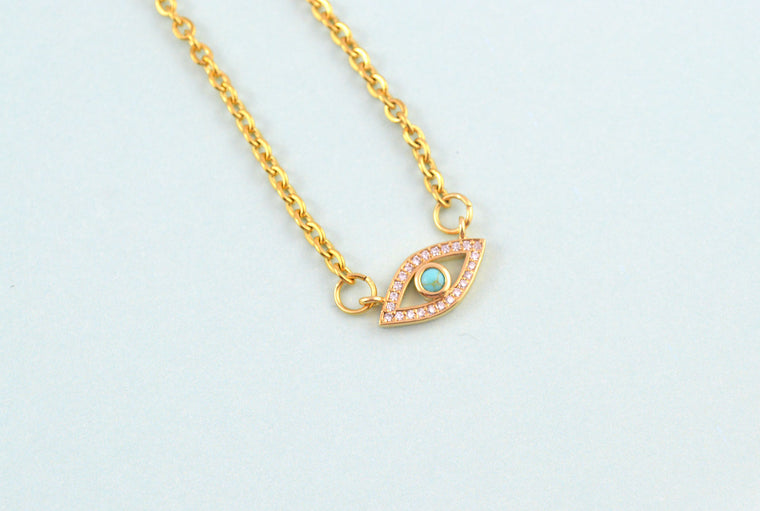 Evil Eye Turquoise Pendant Gold Necklace