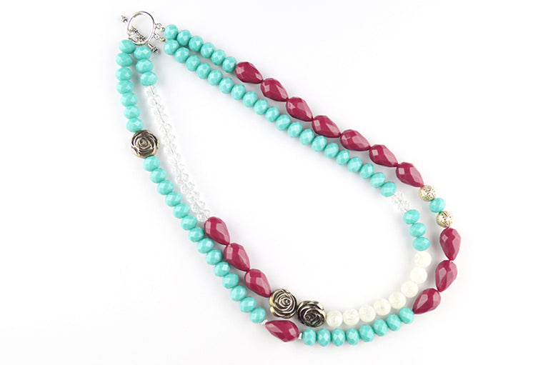 Turquoise Maroon Beaded Double Layer Necklace