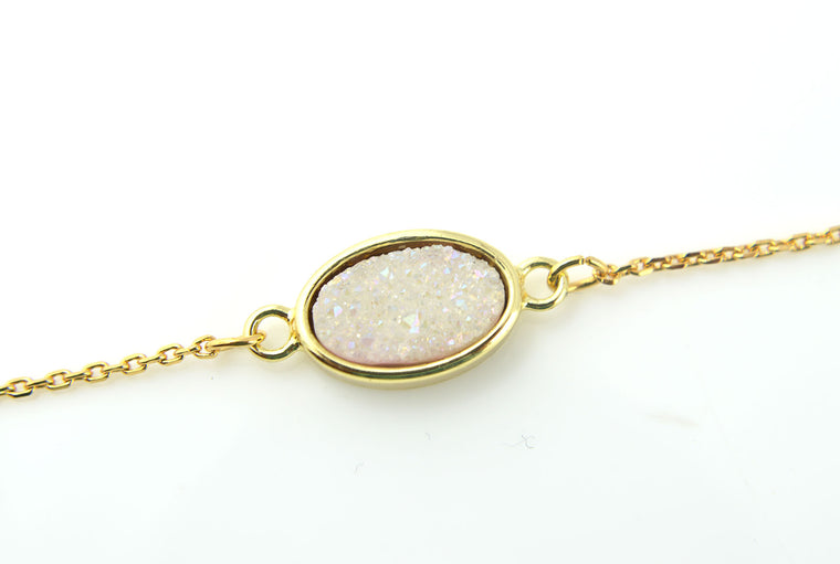 White Druzy Gemstone Gold Plated Dainty Bracelet