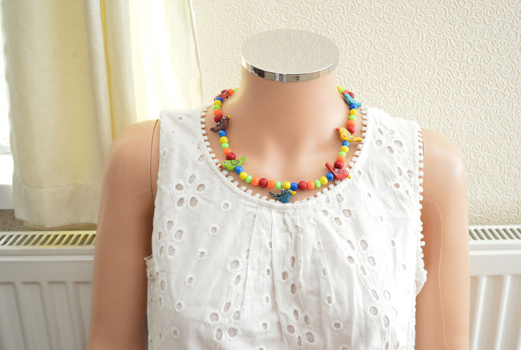 Wooden Beads Colourful Summer Necklace