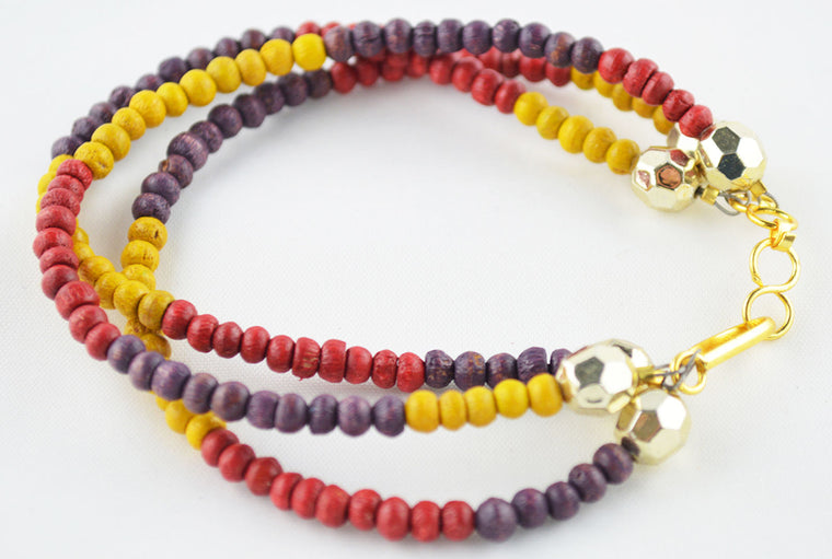 Multicoloured & Golden Wooden Beads Bracelet