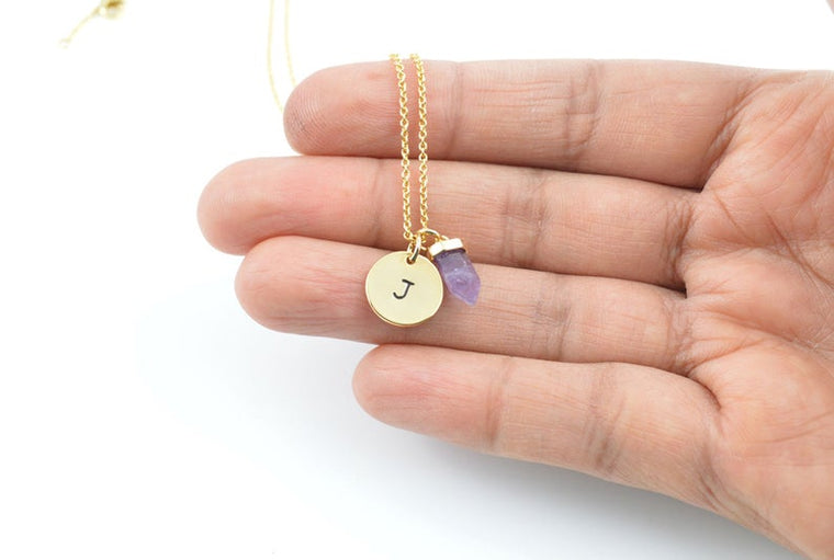 Amethyst Necklace, Initial Necklace, Gold Necklace, Amethyst Jewelry, Gemstone Necklace, Birthstone Necklace, Necklace for women, Charm