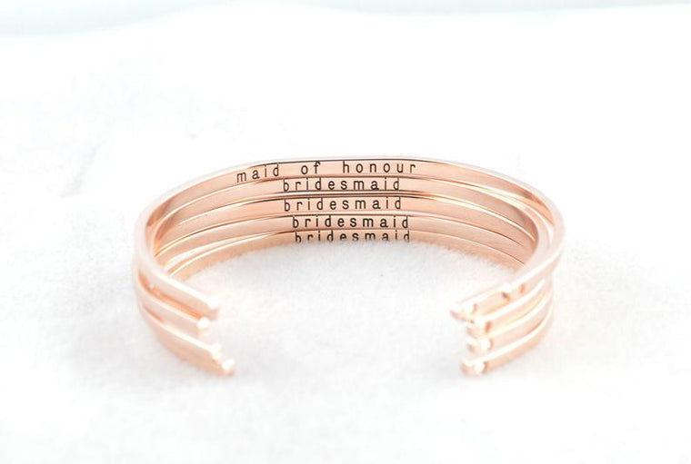 Bridesmaid Bracelet, Rose Gold Cuff, Bridesmaid Gifts, Engraved Bracelet, Gift from Bride, Wedding Gift, Personalized Gift, Gifts for Her