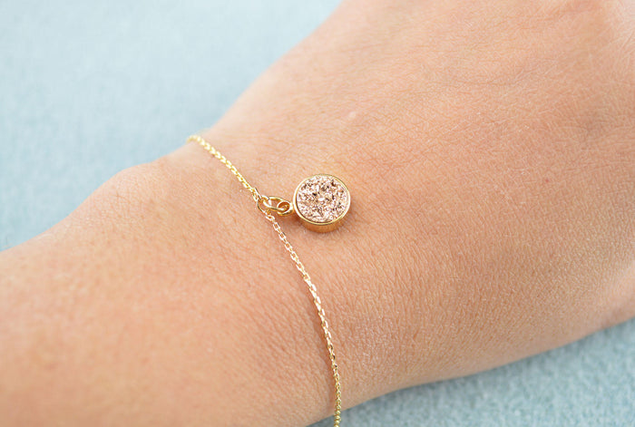 Druzy Gemstone Dainty Bracelet - Gold Colour