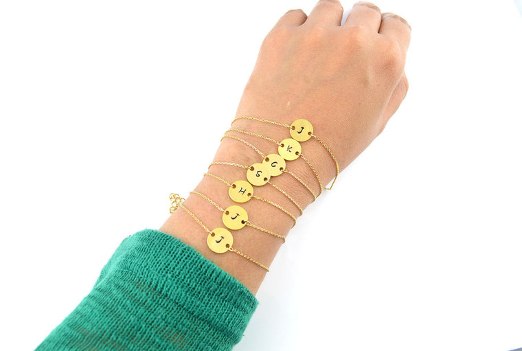 Gold Bracelet, Customized Bracelet, Friendship Bracelet, Stamped Bracelet, Initial Bracelet, Bridesmaid Bracelet, Birthday Gift Ideas,Dainty