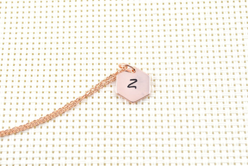 Hexagon personalised rose gold necklace