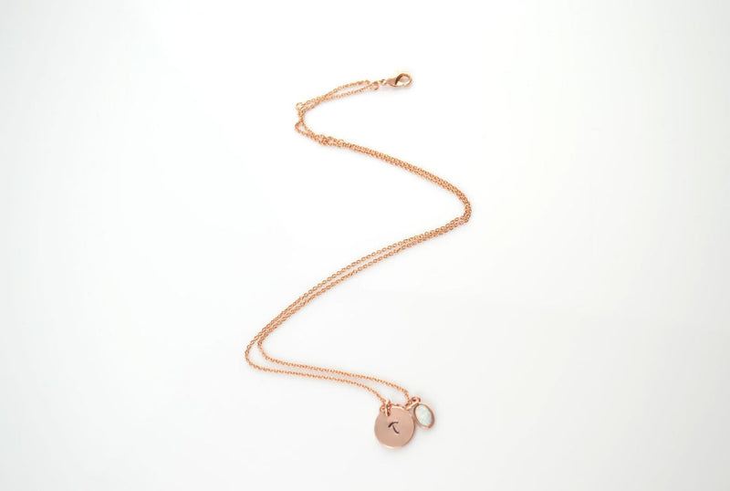 Rose Gold Opal Necklace for Women
