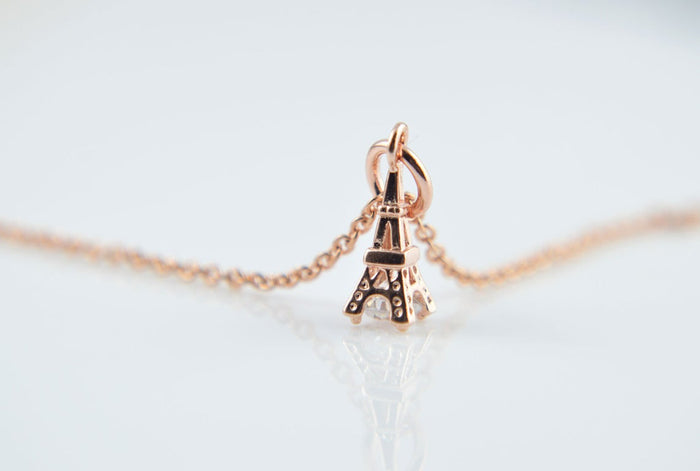 Initial Eiffel Tower Necklace
