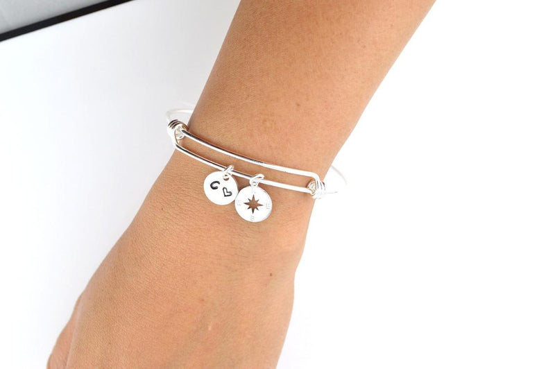 Silver Name Initial Bangle and Bracelet