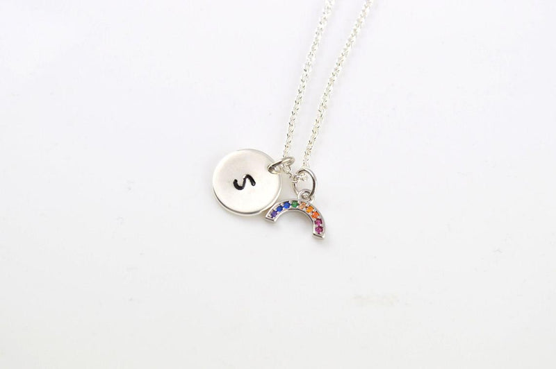 Rainbow Silver Personalised Necklace