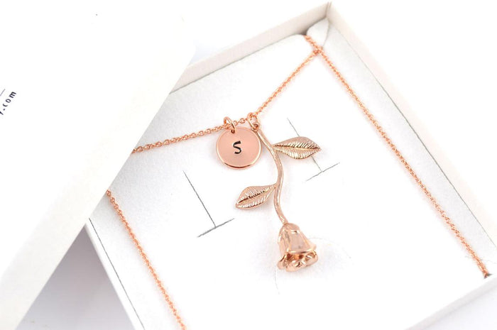 Initial Necklace Rose Gold Necklace