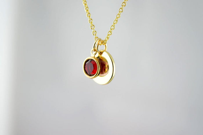 Birthstone and Zodiac Necklace Gold