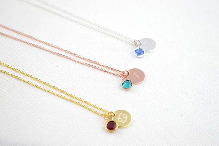 Birthstone and Zodiac Necklace Silver