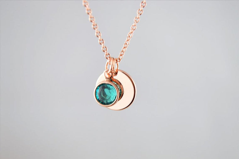 Birthstone and Zodiac Necklace Rose Gold