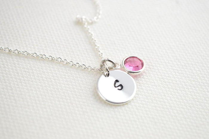 October Birthstone Necklace Silver