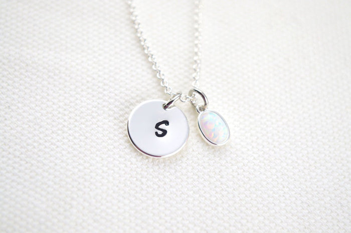 Silver Opal Necklace for Women