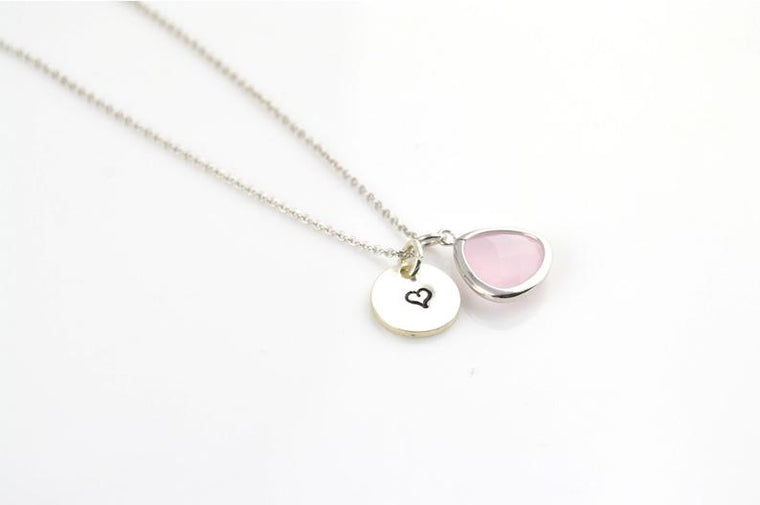 Ice Pink Necklace, Initial Necklace, Silver Jewelry, Gift Ideas, Name Necklace, Stamped Necklace, Bridesmaid Gifts, Gifts for Her