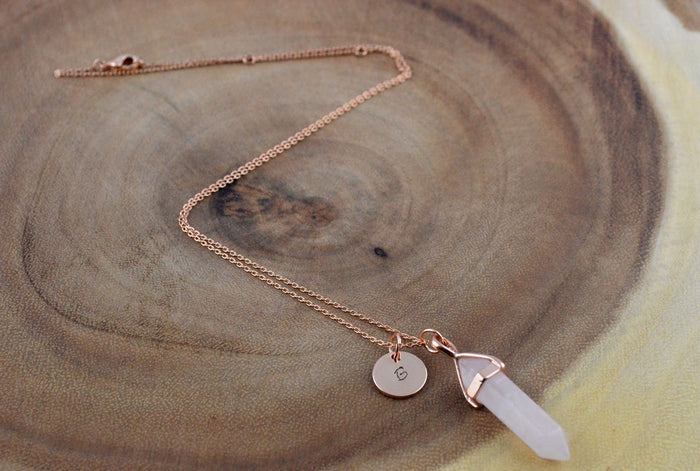 Rose Quartz Gold Necklace
